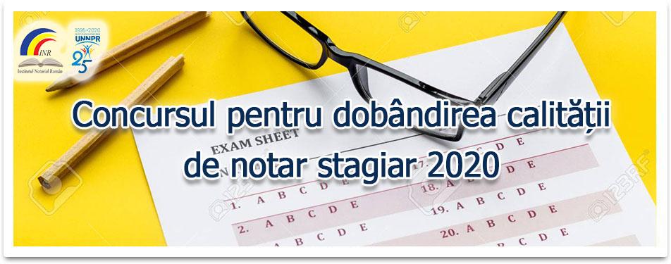 Concurs pentru dobandirea calitatii de notar stagiar 2020
