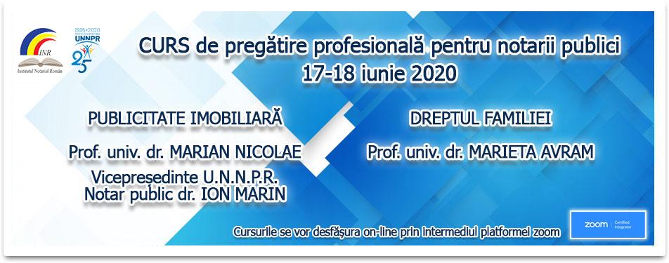 Curs online de pregatire al notarilor publici 17-18 iunie 2020